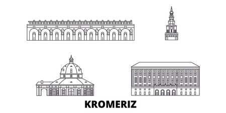 Czech Republic, Kromeriz line travel skyline set. Czech Republic, Kromeriz outline city vector panorama, illustration, travel sights, landmarks, streets.
