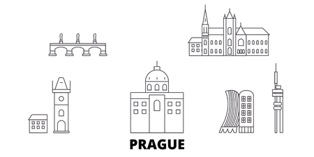 Czech Republic, Prague line travel skyline set. Czech Republic, Prague outline city vector panorama, illustration, travel sights, landmarks, streets.
