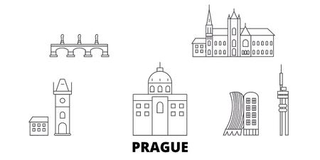 Tschechien, Prager Linie Reisen Skyline Set. Tschechien, Prag skizzieren Stadtvektorpanorama, Illustration, Reisesehenswürdigkeiten, Sehenswürdigkeiten, Straßen.