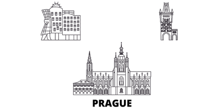 Czech Republic, Prague City line travel skyline set. Czech Republic, Prague City outline city vector panorama, illustration, travel sights, landmarks, streets. Vectores
