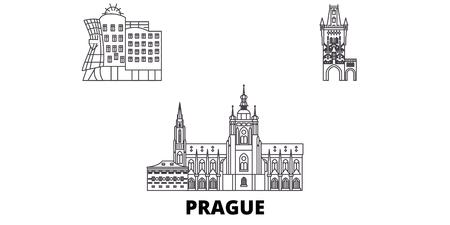 Tschechien, Prag City Line Reisen Skyline Set. Tschechische Republik, Prager Stadtumriss Stadtvektorpanorama, Illustration, Reisesehenswürdigkeiten, Sehenswürdigkeiten, Straßen.