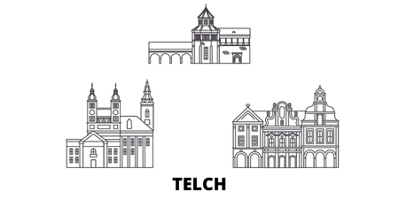 Czech Republic, Telc line travel skyline set. Czech Republic, Telc outline city vector panorama, illustration, travel sights, landmarks, streets.