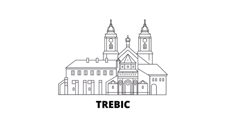 Czech Republic, Trebic line travel skyline set. Czech Republic, Trebic outline city vector panorama, illustration, travel sights, landmarks, streets. 向量圖像