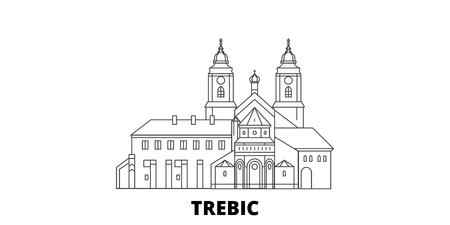 Czech Republic, Trebic line travel skyline set. Czech Republic, Trebic outline city vector panorama, illustration, travel sights, landmarks, streets. Illustration