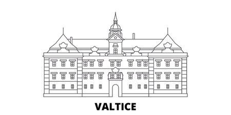 Czech Republic, Valtice line travel skyline set. Czech Republic, Valtice outline city vector panorama, illustration, travel sights, landmarks, streets.
