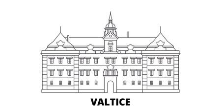 Tschechien, Valtice Line Travel Skyline Set. Tschechien, Valtice skizzieren Stadtvektorpanorama, Illustration, Reisesehenswürdigkeiten, Sehenswürdigkeiten, Straßen.