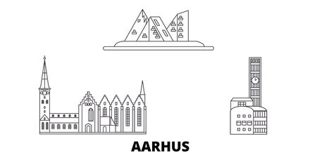 Denmark, Aarhus line travel skyline set. Denmark, Aarhus outline city vector panorama, illustration, travel sights, landmarks, streets.