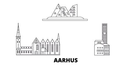 Denmark, Aarhus line travel skyline set. Denmark, Aarhus outline city vector panorama, illustration, travel sights, landmarks, streets.
