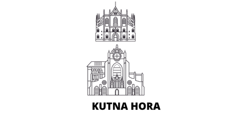 Czech Republic, Kutna Hora line travel skyline set. Czech Republic, Kutna Hora outline city vector panorama, illustration, travel sights, landmarks, streets. Иллюстрация