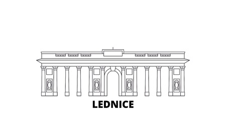 Czech Republic, Lednice line travel skyline set. Czech Republic, Lednice outline city vector panorama, illustration, travel sights, landmarks, streets.