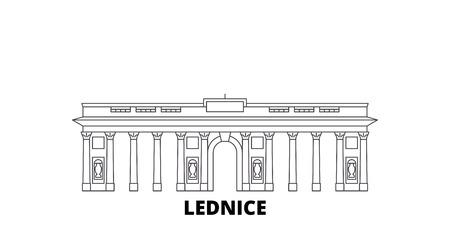 Czech Republic, Lednice line travel skyline set. Czech Republic, Lednice outline city vector panorama, illustration, travel sights, landmarks, streets.