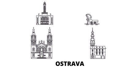 Czech Republic, Ostrava line travel skyline set. Czech Republic, Ostrava outline city vector panorama, illustration, travel sights, landmarks, streets. Imagens - 120563598