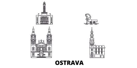 Czech Republic, Ostrava line travel skyline set. Czech Republic, Ostrava outline city vector panorama, illustration, travel sights, landmarks, streets.