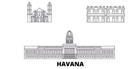 Cuba, Havana City line travel skyline set. Cuba, Havana City outline city vector panorama, illustration, travel sights, landmarks, streets.