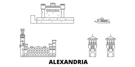 Egypt, Alexandria line travel skyline set. Egypt, Alexandria outline city vector panorama, illustration, travel sights, landmarks, streets.