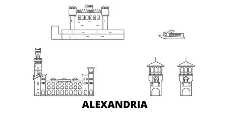 Egypt, Alexandria line travel skyline set. Egypt, Alexandria outline city vector panorama, illustration, travel sights, landmarks, streets.