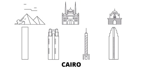 Egypt, Cairo line travel skyline set. Egypt, Cairo outline city vector panorama, illustration, travel sights, landmarks, streets.