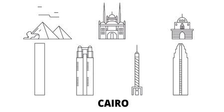 Egypte, ligne d'horizon de voyage du Caire. L'Egypte, le Caire contours le panorama vectoriel de la ville, l'illustration, les sites touristiques, les monuments, les rues.