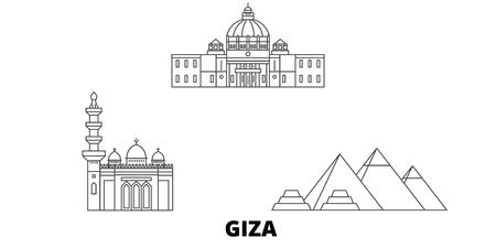 Egypt, Giza line travel skyline set. Egypt, Giza outline city vector panorama, illustration, travel sights, landmarks, streets. Stock Illustratie