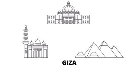 Egypt, Giza line travel skyline set. Egypt, Giza outline city vector panorama, illustration, travel sights, landmarks, streets. Illustration