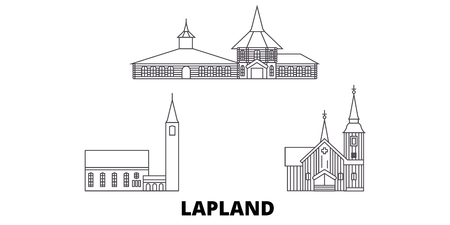 Finland, Lapland line travel skyline set. Finland, Lapland outline city vector panorama, illustration, travel sights, landmarks, streets.