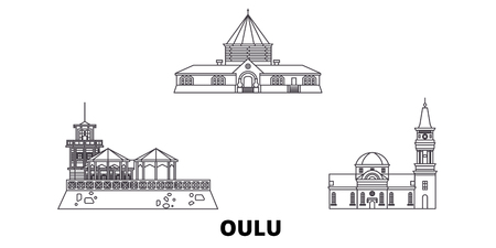 Finland, Oulu line travel skyline set. Finland, Oulu outline city vector panorama, illustration, travel sights, landmarks, streets. Reklamní fotografie - 123962705