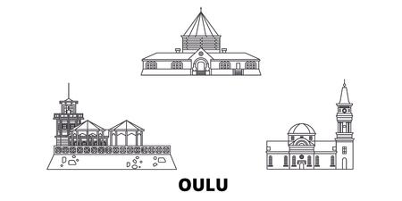 Finland, Oulu line travel skyline set. Finland, Oulu outline city vector panorama, illustration, travel sights, landmarks, streets. Illustration