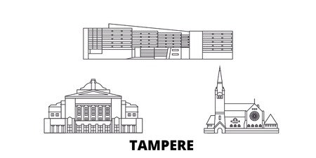Finland, Tampere line travel skyline set. Finland, Tampere outline city vector panorama, illustration, travel sights, landmarks, streets. Reklamní fotografie - 123962706