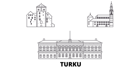 Finland, Turku line travel skyline set. Finland, Turku outline city vector panorama, illustration, travel sights, landmarks, streets.