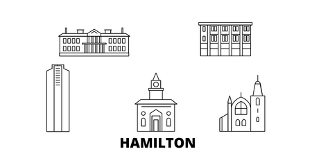 Canada, Hamilton line travel skyline set. Canada, Hamilton outline city vector panorama, illustration, travel sights, landmarks, streets. 版權商用圖片 - 123962707