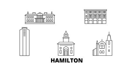 Canada, Hamilton line travel skyline set. Canada, Hamilton outline city vector panorama, illustration, travel sights, landmarks, streets.