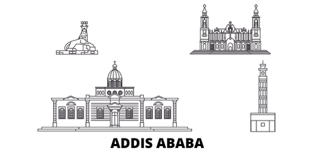 Ethiopia, Addis Ababa line travel skyline set. Ethiopia, Addis Ababa outline city vector panorama, illustration, travel sights, landmarks, streets.