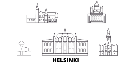 Finland, Helsinki line travel skyline set. Finland, Helsinki outline city vector panorama, illustration, travel sights, landmarks, streets.