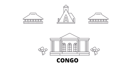 Congo line travel skyline set. Congo outline city vector panorama, illustration, travel sights, landmarks, streets. Reklamní fotografie - 123962709