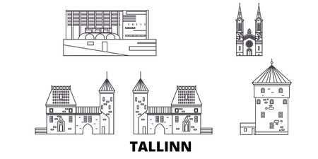Estonia, Tallinn line travel skyline set. Estonia, Tallinn outline city vector panorama, illustration, travel sights, landmarks, streets. Standard-Bild - 123962710