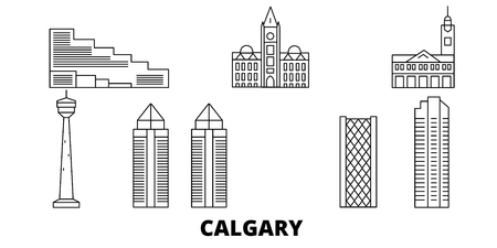 Canada, Calgary line travel skyline set. Canada, Calgary outline city vector panorama, illustration, travel sights, landmarks, streets.