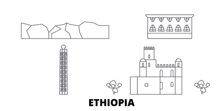 Ethiopia line travel skyline set. Ethiopia outline city vector panorama, illustration, travel sights, landmarks, streets. Ilustração