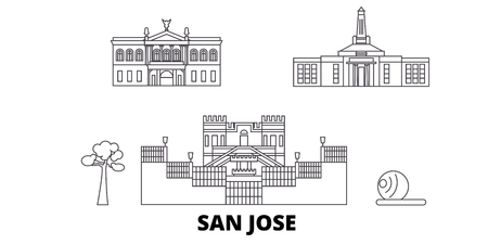 Costa Rica, San Jose line travel skyline set. Costa Rica, San Jose outline city vector panorama, illustration, travel sights, landmarks, streets. Imagens - 120309997
