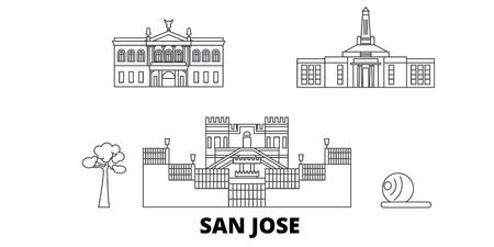 Costa Rica, San Jose line travel skyline set. Costa Rica, San Jose outline city vector panorama, illustration, travel sights, landmarks, streets. Illustration