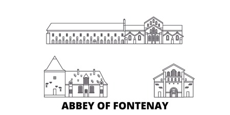 France, Abbey Of Fontenay  line travel skyline set. France, Abbey Of Fontenay  outline city vector panorama, illustration, travel sights, landmarks, streets.