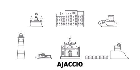 France, Ajaccio line travel skyline set. France, Ajaccio outline city vector panorama, illustration, travel sights, landmarks, streets. Illustration