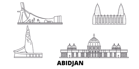 Cote Divoire, Abidjan line travel skyline set. Cote Divoire, Abidjan outline city vector panorama, illustration, travel sights, landmarks, streets.