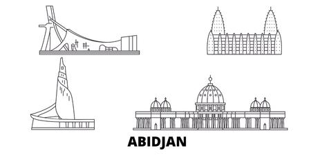 Cote Divoire, Abidjan Line Travel Skyline Set. Cote Divoire, Abidjan skizzieren Stadtvektorpanorama, Illustration, Reisesehenswürdigkeiten, Sehenswürdigkeiten, Straßen. Vektorgrafik