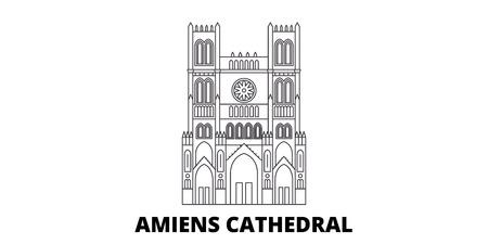 France, Amiens Cathedral  Landmark line travel skyline set. France, Amiens Cathedral  Landmark outline city vector panorama, illustration, travel sights, landmarks, streets. 일러스트