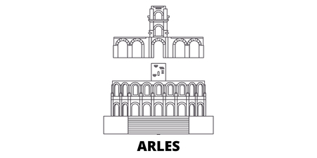 France, Arles line travel skyline set. France, Arles outline city vector panorama, illustration, travel sights, landmarks, streets.