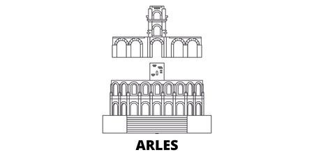 France, Arles line travel skyline set. France, Arles outline city vector panorama, illustration, travel sights, landmarks, streets.