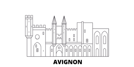 France, Avignon Landmark line travel skyline set. France, Avignon Landmark outline city vector panorama, illustration, travel sights, landmarks, streets. 스톡 콘텐츠 - 120563611