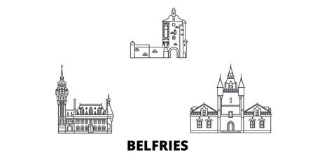 France, Belfries line travel skyline set. France, Belfries outline city vector panorama, illustration, travel sights, landmarks, streets. Illustration