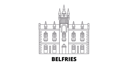 France, Belfries Landmark line travel skyline set. France, Belfries Landmark outline city vector panorama, illustration, travel sights, landmarks, streets. Çizim