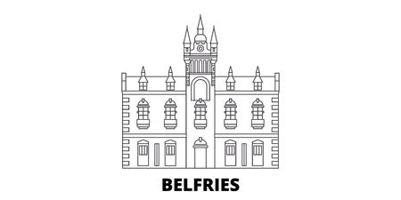 France, Belfries Landmark line travel skyline set. France, Belfries Landmark outline city vector panorama, illustration, travel sights, landmarks, streets. Illustration
